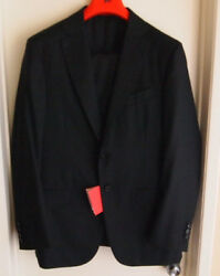 Isaia Solid Black Super 160s Aquaspider Size 50R 100% Lana Wool 2 Piece Suit