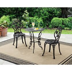 3-Piece Bistro Set Table And Chairs Patio Outdoor Garden Furniture Wrought Iron