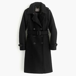 NWT J.Crew Icon Trench Coat In Italian Wool Cashmere Black Size 2