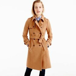 NWT J.Crew Icon Trench Coat In Italian Wool Cashmere Heather Acorn Size 2