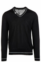 DOLCE&GABBANA MEN'S V NECK JUMPER SWEATER PULLOVER NEW BLUE B24