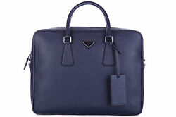 PRADA BRIEFCASE ATTACHÉ CASE LAPTOP PC BAG LEATHER NEW SAFFIANO TRAVEL EE0