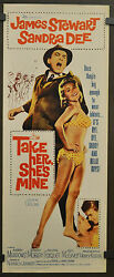 TAKE HER SHE'S MINE 1963 ORIG 14X36 MOVIE POSTER JAMES STEWART SANDRA DEE