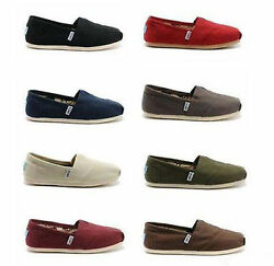 TOMS Women#x27;s CLASSIC Solid Canvas Slip on flats shoe#x27;s US Sizes $34.79