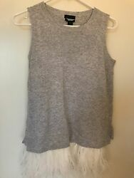 NWT J.Crew Italian Cashmere Shell with Feathers Sweater - Heather Silver - XS