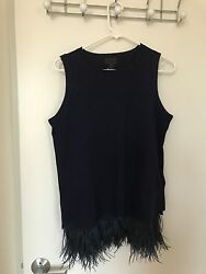 NWT J.Crew Italian Cashmere Shell with Feathers Sweater - Navy Navy - Small
