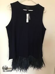 NWT J.Crew Italian Cashmere Shell with Feathers Sweater - Navy Navy - Large