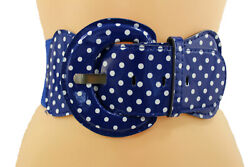 Fun Women Stretch Blue Color Wide Faux Leather Belt White Polka Dots Size M L XL $11.75