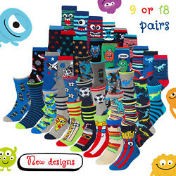 9 amp; 18 Pair Boys Novelty Cotton Rich Socks Kids Boys Socks 12 3 9 12 6 8 Bundle GBP 8.49