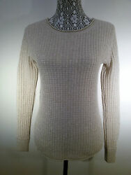 PLY Cashmere Women's Petites Sweater Size XS. Beige with Golden Tone Thread.