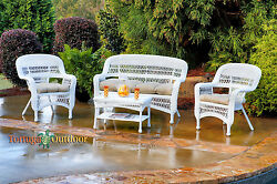 Outdoor Patio Furniture 4pc All Weather White Wicker Resin Chairs Loveseat Table