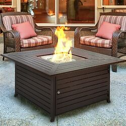 Outdoor Gas Fire Pit Table With Cover Extruded Aluminum Heat Patio Garden Brown