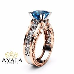 Princess Square Blue Diamond Engagement Ring 2 Tone Gold Ring