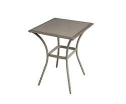 Bar Height Pub Table Gray Square Glass Top Home Outdoor Balcony Patio Furniture
