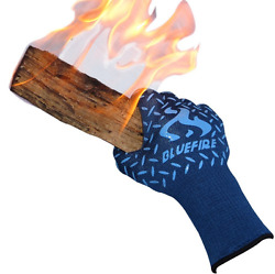 Heat Fire Resistant Blue Gloves Forearm Protection Fireplace Welding Hot