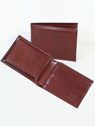 Scully Wallets Mens Mahogany Italian Leather Removable ID Slim Billfold