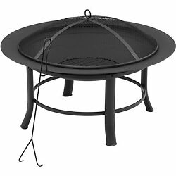 Fire Pit Table Outdoor Patio Firepit Wood Burning Fireplace Backyard Garden 28