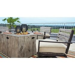 Fire Pit Table Rustic Wood Grain Look Outdoor Propane Heater Patio Deck Porch