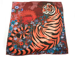 HERMES Auth Shawl Carre 140 Cashmere Silk Multi-Color TYGER Ladies FS NOS #0601