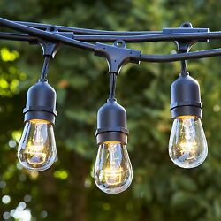 Out Door String Light 48ft Black Wire 15 Bulb Socket Patio Deck Weather Proof