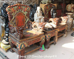 120CM Collect Old Stone Painting Dragon Phoenix 2 Chair Armchair Stool Table Set