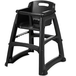 Commercial Baby High Chair Toddler Seat Black Plastic Standard Height Rolling