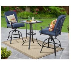 High Bistro Set Belden Park 3-Piece Dining Swivel Outdoor Backyard Patio Garden
