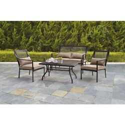 Outdoor Patio Sofa Set Garden Furniture Lawn Steel Frame Chairs Glass Table Pcs