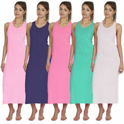 Womens Long Summer Maxi Dress Sleeveless Tshirt Tunic Casual Jersey Holiday Top $6.53