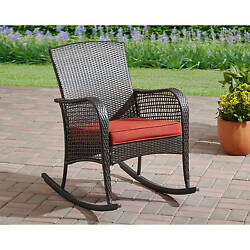 Rocking Chair Wicker Outdoor Furniture Red Porch Rocker Cushion Patio Seat Lawn