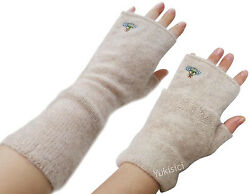 Vivienne Westwood Japan Two Way Beige Long Gloves 100% Cashmere Fingerless wOrb