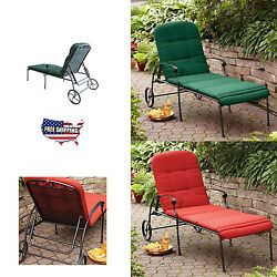 Outdoor Chaise Lounge Chair Patio Furniture with Wheels Padded Pool Garden Yard