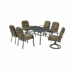 Outdoor Patio Dining Set 7 Piece Table Swivel Chairs Deck Lawn Garden Furniture