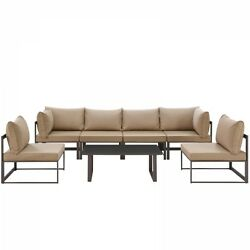 Modway EEI-1729-BRN-MOC-SET Fortuna 7 Piece Outdoor Patio Sectional Sofa Set In