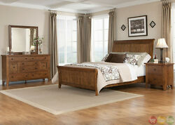 Hearthstone Traditional Rustic Oak King Sleigh Bed Shaker Style 4 pc Bedroom Set