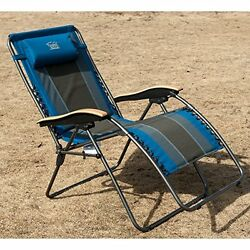 Zero Gravity Outdoor Oversized XL Padded Chair Wooden Arm Supports 350lbs