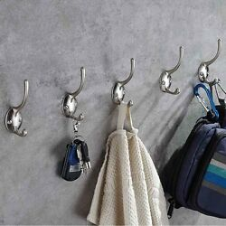 Mellewell Double Prong Coat and Hat Hook Heavy Duty Wall Hangers 5 Pack (Screws