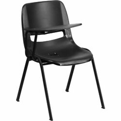 Black Ergonomic Shell Chair with Right Handed Flip-Up Tablet Arm FLARUTEO1BKRTAB