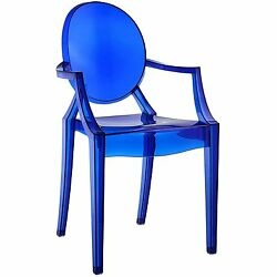 Blue Dining Room Arm Chair In Out Door Stackable Clear Plastic Seat Furniture