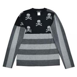 mastermind JAPAN Skull cashmere border knit sweater Size:S USED