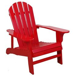 Outdoor Patio Chair Furniture Slatted Durable Garden Red Armchair Adirondack