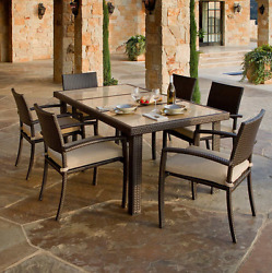 Outdoor 7 Pc Dining Set High Back Armchairs Espresso All Weather Patio Furniture