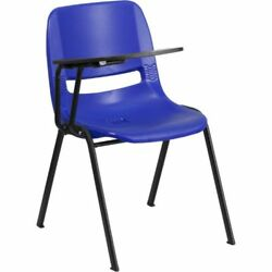 Blue Ergonomic Shell Chair with Right Handed Flip-Up Tablet Arm FLARUTEO1BLRTABG