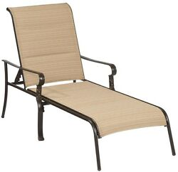 Hampton Bay Belleville Padded Sling Outdoor Adjustable Patio Chaise Lounge New