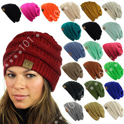 Hot item! CC Beanie New Women's Knit Slouchy Thick Cap Hat Unisex Solid Color $8.89