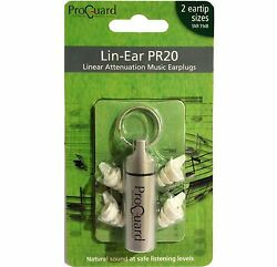 Proguard Lin Ear PR20 linear attenuation music earplugs musicians ear plugs GBP 16.25