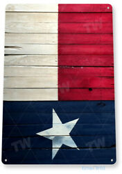 TIN SIGN Texas Flag Wood Tin Metal Sign Lone Star Rustic Decor B288 $8.95