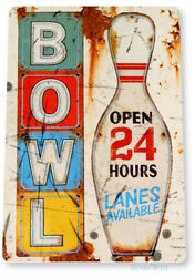 Bowl Sign Bowling Ball Rustic Alley Sports Metal Sign Decor Tin Sign B117 $8.95