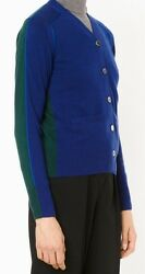Women's SACAI LUCK Cashmere V-Neck Button Two Tone Cardigan Sweater Medium SZ 2