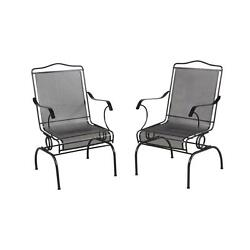 Outdoor Patio Furniture Dining Chair Deck Rocking Wrought Iron in Black 2 Pack